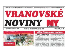 Titulná strana týždenníka Vranovské noviny, 27. 3. 2017