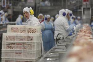 Na snímke zamestnanci pracujú v závode spoločnosti JBS, ktorá je najväčším svetovým vývozcom hovädzieho mäsa, 21. marca 2017 v brazílskom meste Lapa.
