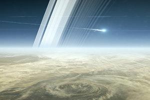 Vizualizácia vstupu Cassini do atmosféry a jej následného rozpadu.