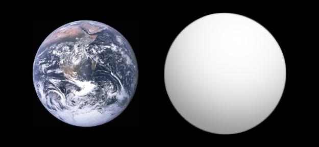 Porovnanie veľkostí Zeme a exoplanéty GJ 1132 b.