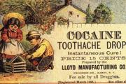 Reklama na detské kokaínové kvapky proti bolesti zubov z roku 1885.