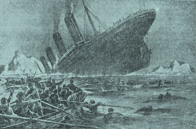 Potápajúci sa Titanic, kresba Willyho Stöwera.