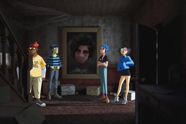 Animovaní členovia Gorillaz v strašidelnom dome vo videu s virtuálnou realitou.