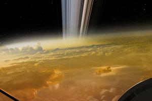 """Vizualizácia pohľadu """"cez rameno"""" Cassini počas jedného z ponorov Veľkého finále."""