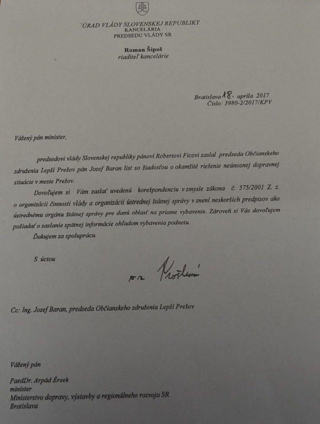 List, ktorý prišiel prešovským aktivistom