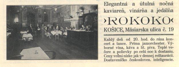 Reštaurácia Rokoko na reklame z r. 1932.