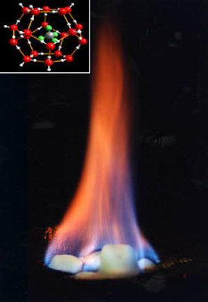 Horiaci hydrát metánu.