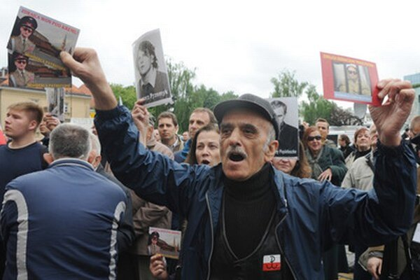 Demonštrant vo Varšave.