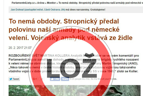 Parlamentní listy šíria hoax o tom ako polovica českej armády prejde pod nemecké velenie.