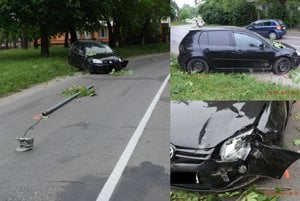 Nehoda na Šurianskej. Vodič našťastie nikoho nezrazil.