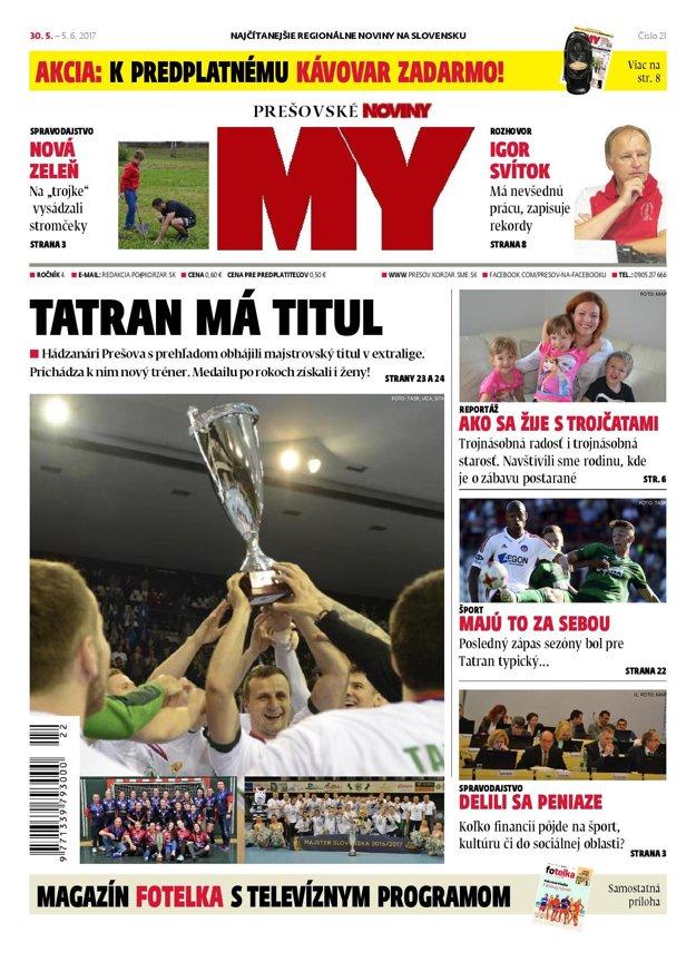 Titulná strana týždenníka MY Prešovské noviny č. 21/2017.