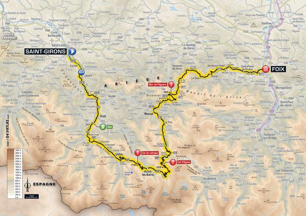 Mapa trinástej etapy Tour de France 2017.