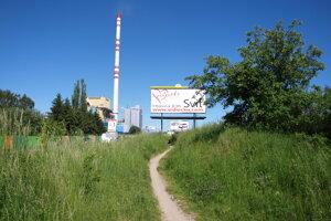 Cestičku vo vysokej tráve popred papierenský koncern vRužomberku lemujú aj nevkusné bilbordy.