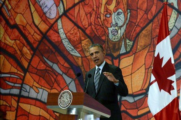 Americký prezident Barack Obama na summite severoamerických lídrov v Mexiku.