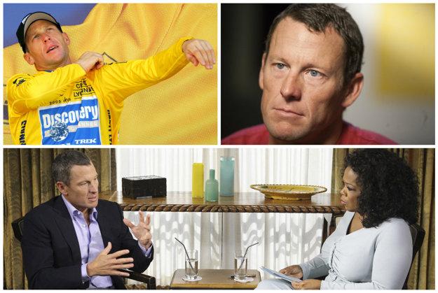 Zo žltého dresu k celosvetovej hanbe. Na dolnej fotografii Lance Armstrong u populárnej moderátorky Oprah Winfreyovej, kde sa priznal k dopingu.