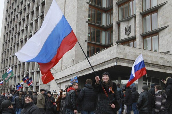 Proruský protest v Charkove.