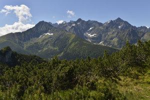 Na snímke ranné Tatry zo Zadných Meďodolov, v strednom pláne vľavo je Jahňací štít, uprostred Kolový štít a vpravo Ľadový štít. V pozadí medzi Jahňacím štítom a Kolovým štítom je Lomnický štít.