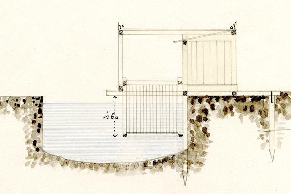 Schéma koša, v ktorom sa ponárali do Pereca.