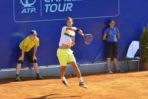 Laslo Djere zo Srbska počas finále tenisového turnaja Poprad – Tatry ATP Challenger Tour 2017 v Poprade.