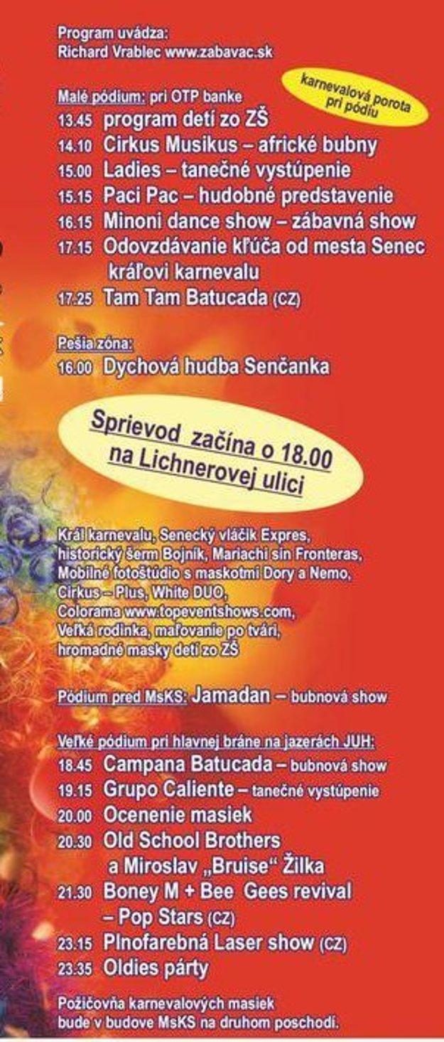 Program Veľkého letného karnevalu.