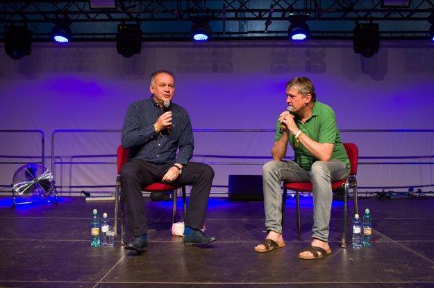 Andrej Kiska a Štefan Hríb počas diskusie na festivale Pohoda.