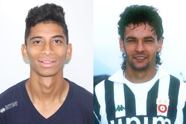 Vľavo je Brazílčan Roberto Baggio, ktorý prišiel do Zlatých Moraviec. Roberto Baggio hrával o.i. za Fiorentinu, Juventus aoba milánske kluby. Vroku 1993 sa stal svetovým futbalistom roka, vroku 1994 na MS vUSA získal sTalianskom striebro.