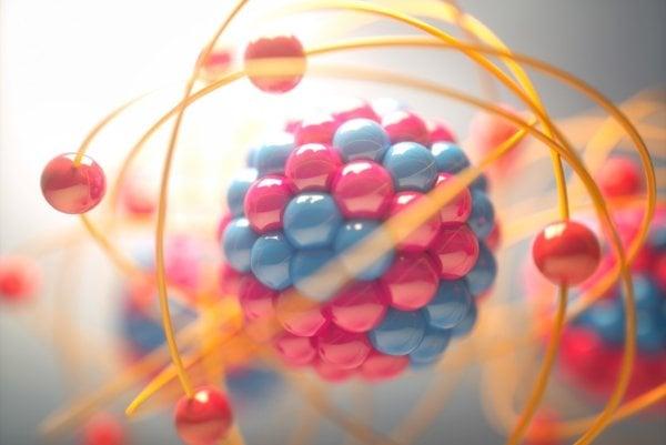 Model atómu - jadro pozostáva z kladných protónov a neutrálnych neutrónov.