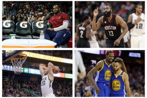NBA štartuje aj s najväčšími hviezdami. Vľavo hore LeBron James, vedľa neho Josh Harden, vľavo dole posila Bostonu Celtics Gordon Hayward a dole vpravo najväčšie opory Golden State - Kevin Durant (vľavo) a Stephen Curry.