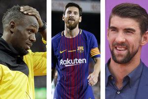 Zľava Usain Bolt, Lionel Messi a Michael Phelps.