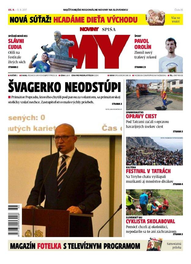 Nové číslo týždenníka MY Noviny Spiša v predaji od 5. septembra.