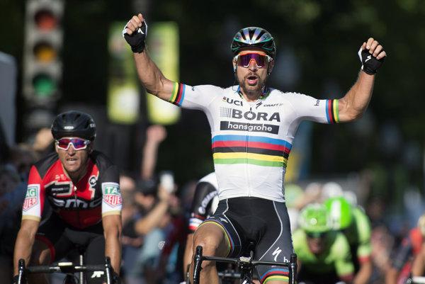 Radosť Petra Sagana v cieli pretekov.