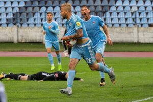 Jakub Mareš (Slovan) oslavuje svoj úvodný gól.