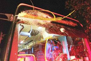 Konár zapichnutý v čelnom skle autobusu.