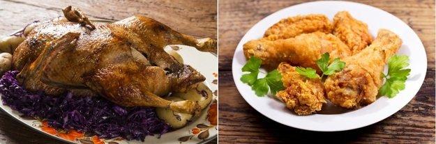 Pečená kačka a vyprážané kura.