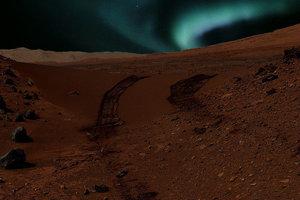 Vizualizácia pohľadu na polárnu žiaru z povrchu Marsu.