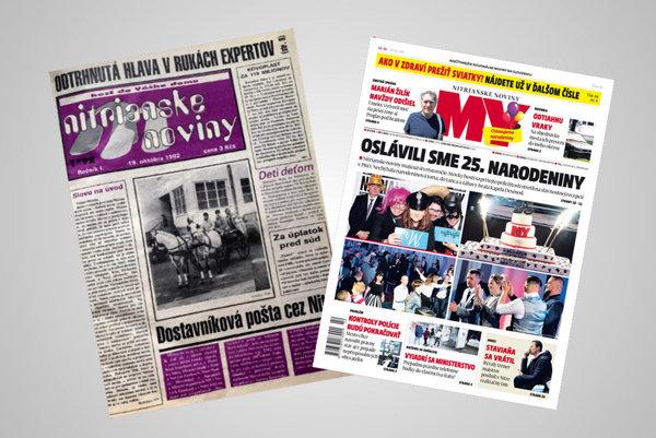 Vľavo prvé číslo Nitrianskych novín z roku 1992, vpravo najnovšie vydanie.