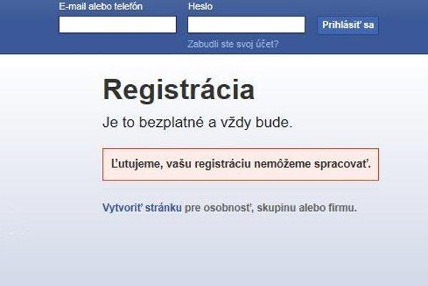 Pri vyplnení veku pod 13 rokov, Facebook registráciu nepovolí.