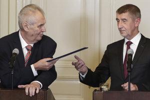 Český prezident Miloš Zeman a líder hnutia ANO Andrej Babiš.
