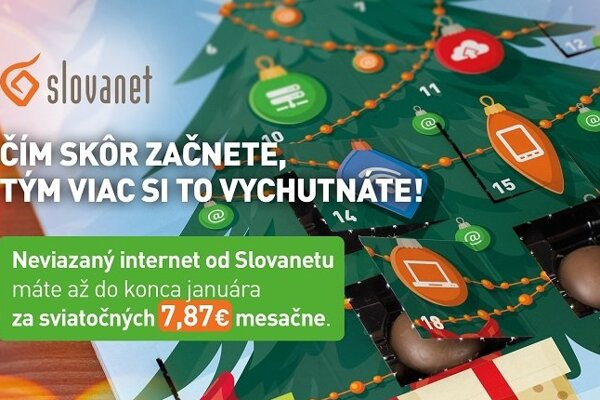 Nový neviazaný internet od Slovanetu máte až do konca januára len za sviatočných 7,87 € mesačne.