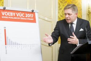 Premiér Fico počas vyhlásenia k voľbám.