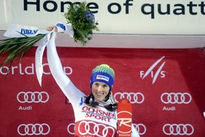 Petra Vlhová si užíva triumf v slalome Svetového pohára v Levi.