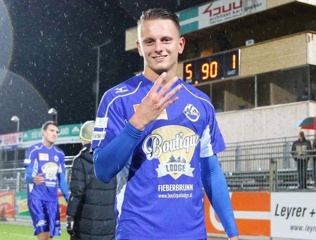 V nedeľňajšom zápase SV Horn - Austria B (5:1) sa Matúš Paukner tešil zo štyroch gólov)