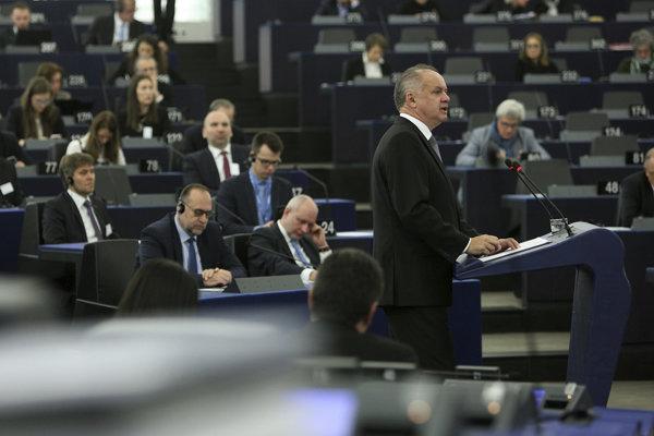 Andrej Kiska v stredu vystúpil v europarlamente.