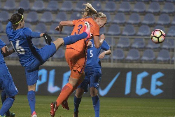 Momentka zo zápasu Slovensko - Holandsko.