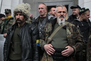 Domobrana stráži ukrajinský parlament.