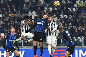 Momentka zo zápasu Juventus Turín - Inter Miláno.