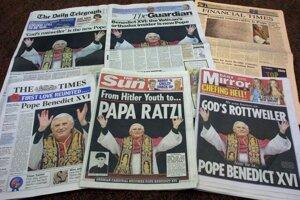 Vydania britských národných denníkov 20. apríla 2005 informujú o zvolení pápeža Benedikta XVI. FOTO - TASR/AP