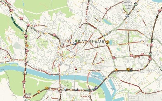 Ochromená doprava v Bratislave v utorok ráno.