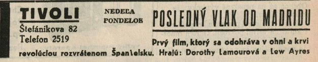 Upútavka na nový americký romantický film History Is Made at Night z roku 1937.