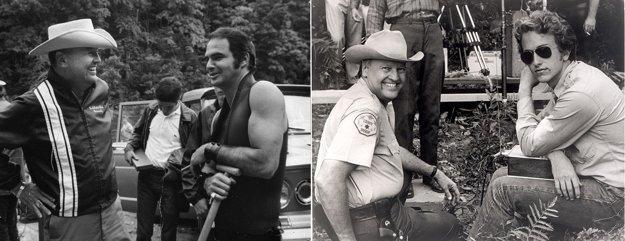 James Dickey počas nakrúcania filmu Vyslobodenie. Vľavo s hercom Burtom Reynoldsom, vpravo so synom Chrisom.